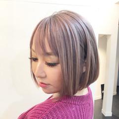 グレージュ グラデーションカラー ボブ ハイライト ヘアスタイルや髪型の写真・画像