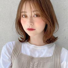 モテ髪 ミディアム 外ハネ ナチュラル ヘアスタイルや髪型の写真・画像