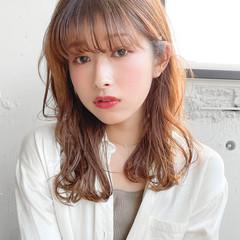 韓国ヘア ミディアム シースルーバング 透明感カラー ヘアスタイルや髪型の写真・画像