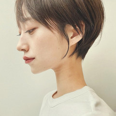 ナチュラル インナーカラー ショートヘア ショートボブ ヘアスタイルや髪型の写真・画像