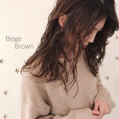 ブラウン 大人女子 ナチュラル ミディアム ヘアスタイルや髪型の写真・画像