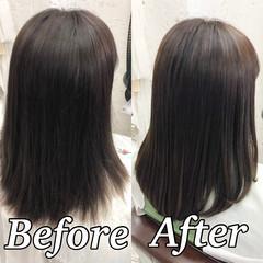 縮毛矯正 ツヤ髪 ナチュラル セミロング ヘアスタイルや髪型の写真・画像