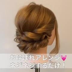 セミロング ヘアアレンジ ナチュラル ふわふわヘアアレンジ ヘアスタイルや髪型の写真・画像