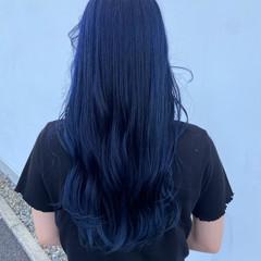 ハイトーン ブルー ターコイズ モード ヘアスタイルや髪型の写真・画像