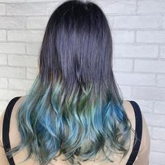 ダブルカラー ロング 裾カラー バレイヤージュ ヘアスタイルや髪型の写真・画像