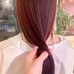 ガーリー 韓国ヘア 透明感カラー ピンクラベンダー ヘアスタイルや髪型の写真・画像