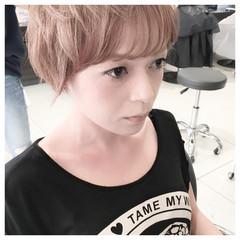 イルミナカラー ピンク ショート ハイトーン ヘアスタイルや髪型の写真・画像