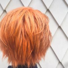 大人女子 ショート ブリーチ オレンジ ヘアスタイルや髪型の写真・画像
