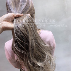 ロング ミルクティーグレージュ ミルクティー 3Dハイライト ヘアスタイルや髪型の写真・画像