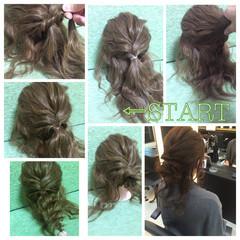ヘアアレンジ セミロング ゆるふわ ロープ編み ヘアスタイルや髪型の写真・画像