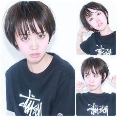 イルミナカラー ナチュラル ショート ウェットヘア ヘアスタイルや髪型の写真・画像