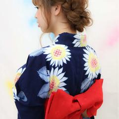 お祭り 花火大会 編み込み ロング ヘアスタイルや髪型の写真・画像
