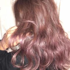 モード セミロング ピンクパープル ピンクアッシュ ヘアスタイルや髪型の写真・画像
