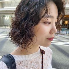 無造作パーマ 前髪パーマ デジタルパーマ ボブ ヘアスタイルや髪型の写真・画像