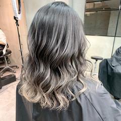 セミロング コントラストハイライト 透明感カラー 秋冬スタイル ヘアスタイルや髪型の写真・画像