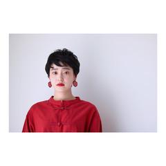 似合わせ モード 暗髪 小顔 ヘアスタイルや髪型の写真・画像