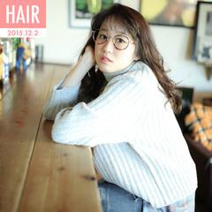 ゆるふわ フェミニン ストレート 暗髪 ヘアスタイルや髪型の写真・画像