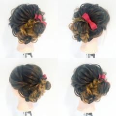セミロング 結婚式 ヘアアレンジ フェミニン ヘアスタイルや髪型の写真・画像