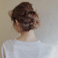 切りっぱなし 簡単ヘアアレンジ ハーフアップ 外ハネ ヘアスタイルや髪型の写真・画像