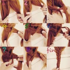 ヘアアレンジ ガーリー セミロング フィッシュボーン ヘアスタイルや髪型の写真・画像