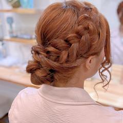 編み込み 編み込みヘア セミロング 簡単ヘアアレンジ ヘアスタイルや髪型の写真・画像