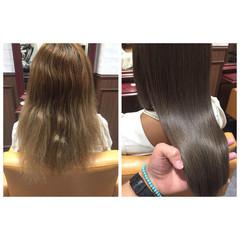 モード グレージュ ストリート ミディアム ヘアスタイルや髪型の写真・画像