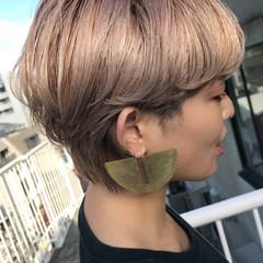 女子力 ヌーディベージュ ナチュラル ショート ヘアスタイルや髪型の写真・画像