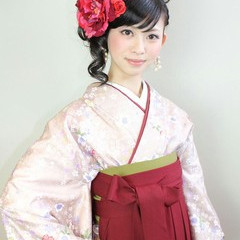 アップスタイル セミロング 袴 謝恩会 ヘアスタイルや髪型の写真・画像