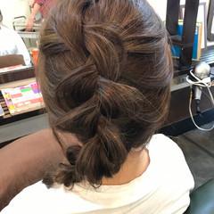 セミロング 編み込み ヘアアレンジ ハイライト ヘアスタイルや髪型の写真・画像