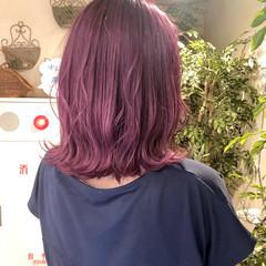 ピンクラベンダー ガーリー ミディアム ラベンダーピンク ヘアスタイルや髪型の写真・画像