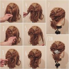 ねじり ゆるふわ 簡単ヘアアレンジ ボブ ヘアスタイルや髪型の写真・画像