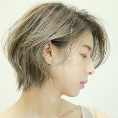 ショートヘア ショート 髪質改善カラー 極細ハイライト ヘアスタイルや髪型の写真・画像