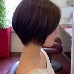 ショート ハイライト ショートヘア 大人ハイライト ヘアスタイルや髪型の写真・画像