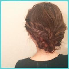 ヘアアレンジ フェミニン セミロング ショート ヘアスタイルや髪型の写真・画像