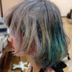グラデーションカラー ストリート ボブ カラフルカラー ヘアスタイルや髪型の写真・画像