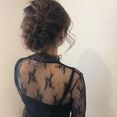 フェミニン ミディアム アップ 結婚式ヘアアレンジ ヘアスタイルや髪型の写真・画像