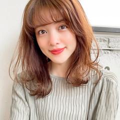 ミディアム ゆるふわパーマ 韓国ヘア ナチュラル ヘアスタイルや髪型の写真・画像