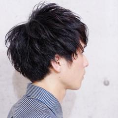 黒髪 メンズ ナチュラル ショート ヘアスタイルや髪型の写真・画像