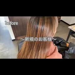 3Dハイライト ブリーチカラー ナチュラル ロング ヘアスタイルや髪型の写真・画像