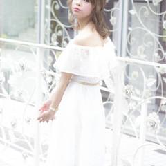 春 ガーリー モテ髪 ブライダル ヘアスタイルや髪型の写真・画像