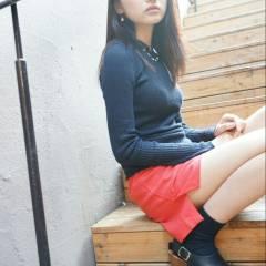暗髪 ロング ストリート 卵型 ヘアスタイルや髪型の写真・画像