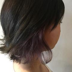 バイオレットアッシュ インナーカラー ラベンダーピンク ラベンダーアッシュ ヘアスタイルや髪型の写真・画像