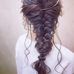 編みおろし デート エレガント 結婚式 ヘアスタイルや髪型の写真・画像