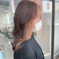 ヨシンモリ ヌーディベージュ 韓国 セミロング ヘアスタイルや髪型の写真・画像