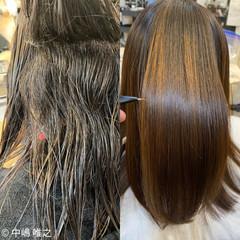 艶髪 ストレート セミロング ナチュラル ヘアスタイルや髪型の写真・画像