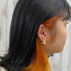 オレンジ ナチュラル インナーカラーオレンジ ミディアム ヘアスタイルや髪型の写真・画像
