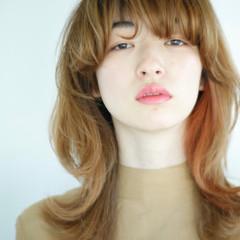 オレンジ マッシュウルフ レイヤーカット モード ヘアスタイルや髪型の写真・画像