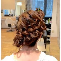 ナチュラル ヘアアレンジ 結婚式 二次会 ヘアスタイルや髪型の写真・画像