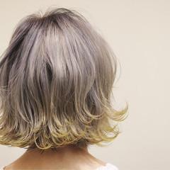 エアリー グラデーションカラー ボブ アッシュ ヘアスタイルや髪型の写真・画像