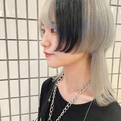 ホワイトブリーチ ニュアンスウルフ ブリーチカラー モード ヘアスタイルや髪型の写真・画像